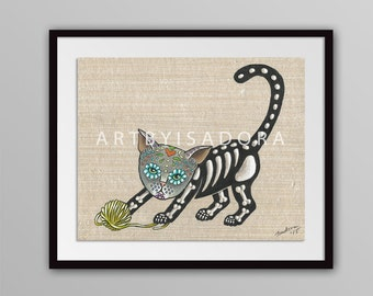 Day of the Dead Cat Print - Día de los Muertos Style Art - Día de Muertos Tattoo - tattoo art - playful cat print - Cat Folk Art Print