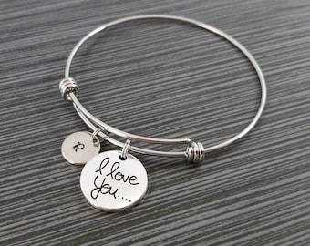 I Love You Bangle Bracelet- Love Charm Bracelet - Adjustable Bracelet Bangle - Love Bracelet - Initial Bracelet - Gift for Mom Jewelry