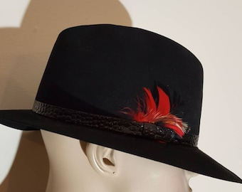 Men's wool Felt Fedora hat Gentleman Hat Gatsby hat Men's classic Sunday hat 60s style made in Canada Billmore hat Black gangster hat