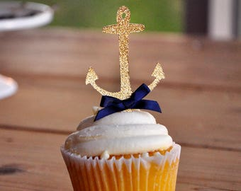 Anchor Cupcake Toppers.  Handcrafted in 2-5 Business Days.  Nautical Baby Shower Decorations 12CT.