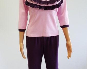 Women Soft Pink Ruffle Pajama Set
