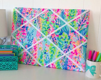 New memo board made with Lilly Pulitzer Multi Catch The Wave fabric