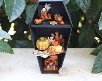 Dollhouse miniature halloween cabinet