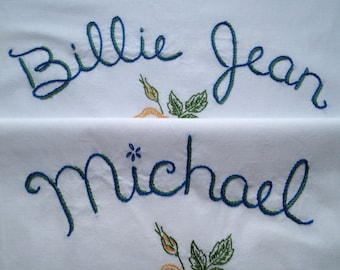 Michael Jackson, Billie Jean, Pillowcases, Hand embroidered, Unboring gift, House gift, Neverland