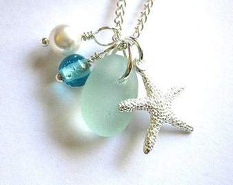 Genuine Sea Glass Jewelry Seafoam Sea Glass Necklace Starfish Charm Beach Jewelry