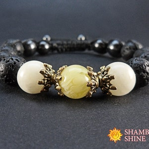 Beaded black bracelet Gift idea for women Healing gemstone jewelry Black yellow bracelet Meditation women bracelet Onyx Amber Lava stone