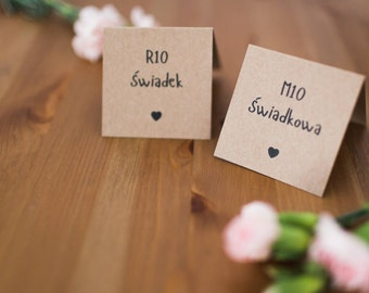 Rustic place card / Wedding place cards / Rustic wedding / Kraft paper place card / Barn wedding / Eco wedding decorations / Heart
