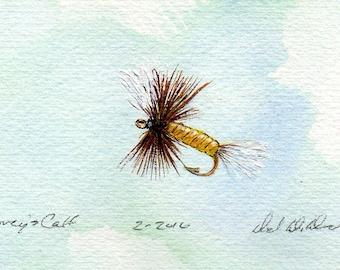 Art de la pêche - Original Art - aquarelle - Coreys veau queue - mouche sèche - Made in Michigan - Michigan artiste - Fly Fishing - cadre noir