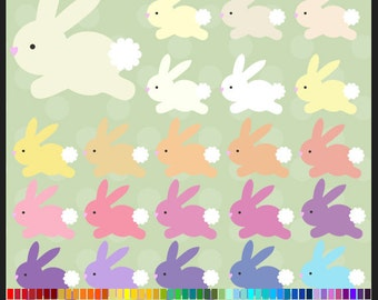 100 Colors Bunny Rabbit Clipart Pack - Commercial Use, Easter, Pet, White Rabbit, Brown Rabbit, Yellow Rabbit, Spring, Printable, Iron on