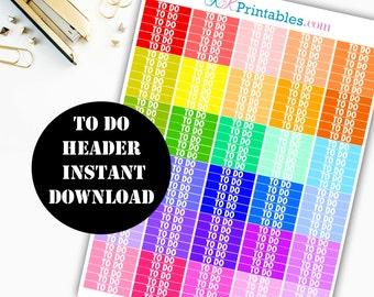 TO DO Header Printable Planner Stickers // Erin Condren Life Planner / Kikki / Plum Paper Planner / Midori Insert / Planner Insert 00103
