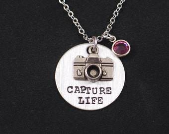 Capture Life necklace, sterling silver filled, hand stamped necklace with camera charm,Swarovski birthstone of your choice,photographer gift