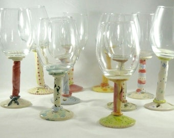 Water Goblet, Stemmed Wine Glasses, Parfait Glasses Funny Wine Glass ceramics and pottery Wine Chalice Wedding Bridal Wine Glass, Chalice