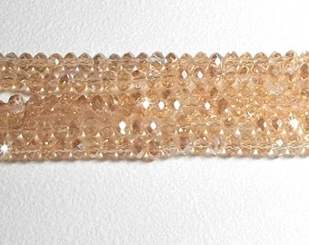 3x4mm Champagne AB Faceted Crystal Rondelle Beads 4x3mm crystal beads
