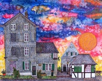 NEW! 9x12 PRINT German Village