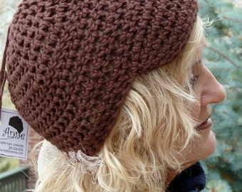 Women's chemo hats, brown crochet newsboy in all cotton, quality handcrafted cotton hat, unique women's fashions, free shipping USA