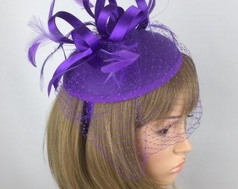 Purple Fascinator, Pillbox Wedding Hat, Pillbox Fascinator, hat, Hatinator with birdcage veil netting