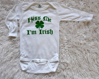 CLEARANCE 6-12 MONTHS Kiss Me I'm Irish Creeper .  Kiss Me I'm Irish Onepiece Kiss Me I'm Irish St. Patrick's Onepiece . St Pattys Shirt