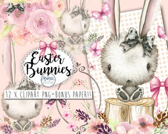 Clipart, Easter Bunny Clipart, rabbit, easter watercolor, woodland, bows, cute bunny,floral wreath crown,clipart, planner pages,planner girl
