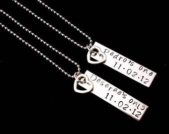 Her One His Only  Customized with Name and date Hand stamped Necklace set - couple set - anniversay or wedding gifts