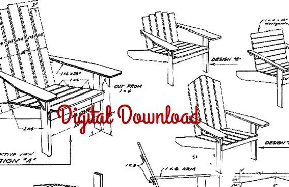 Adirondack chair blueprint vintage woodworking plans patio malvernweather Images