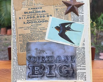 Claim Your Dreams - Mixed Media Assemblage on Salvaged Wood