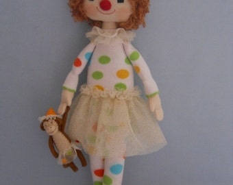 The Textile Doll Clown Pompon, soft doll, rag doll