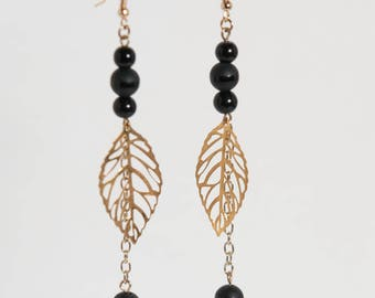 Black and gold drops, leaf earrings