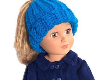 Messy Bun Hat, Bun Beanie, Ponytail Beanie, Crocheted Doll Hat, 18 Inch Doll Clothes, Winter Doll Clothes