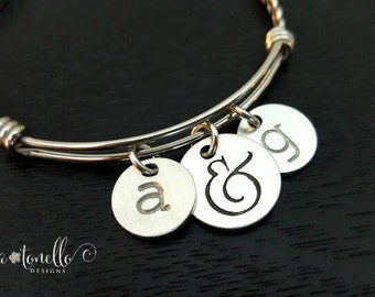 Couple Bracelet, Couples Initials, Girlfriend Gift, Initial Charm, Personalized Bracelet, Valentine Gift, Gifts for Girlfriend, Wife Gift,TW