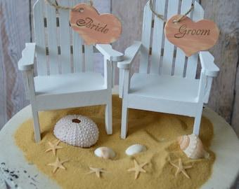 Adirondack beach wedding chairs-miniature Adirondack chairs-wedding cake topper-beach chairs- & Ivory bride-Adirondack chair-wedding cake