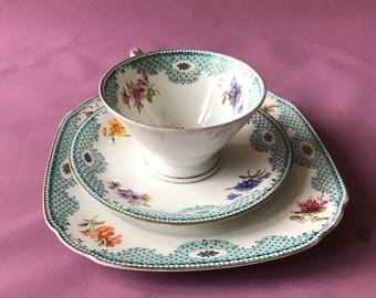 Vintage German Fine bone Porcelain China 3 Piece tea cup saucer gold blue crosshatch floral flowers