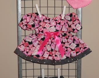 """Handmade 11 - 13 Inch Baby Doll Clothes ~ """"Be My Valentine"""" Pink, Red, Purple, Black & White Hearts and Stamps Print Dress Set with Panties"""