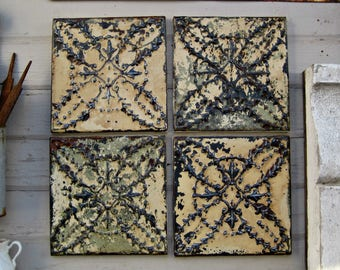 Tin Ceiling Tiles. Set of 4 framed and refinished. Old paint Farmhouse Rustic decor.  Architectural salvage. Old metal tiles