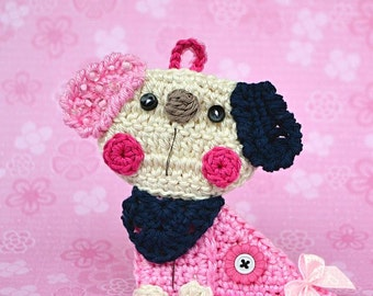 Crochet puppy/dog applique / ornament - crochet pattern, DIY