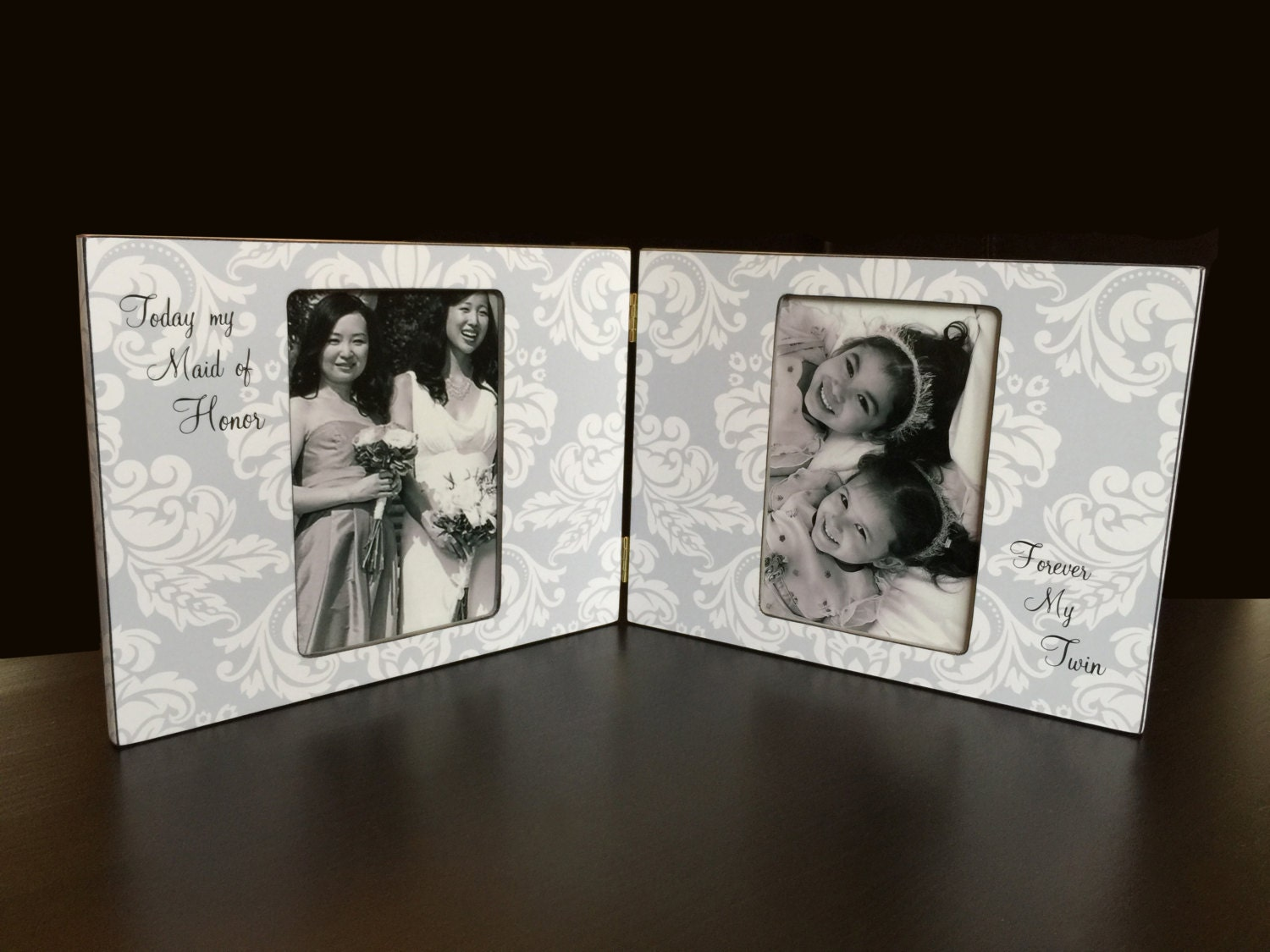 Double Picture Frame Personalized Twins Photo Frame Hinged Tabletop ...