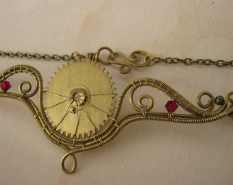 steampunk necklace, steampunk jewelry, steampunk choker, gear jewelry, wire wrapped necklace, cosplay, red brass necklaceWINGS of WIND