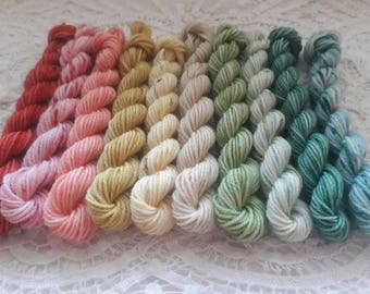 10 Sock Mini Skein Set- 20 or 40 yards each-Victorian Christmas