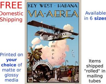 Poster, Air Travel Print - Key West - Havana / Habana  Via-Aerea - Vintage Airline Travel Print (186839977)