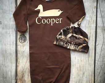 Duck hunter Camo, baby boy hunter, water fowl, baby gown, take home, newborn, baby shower gift