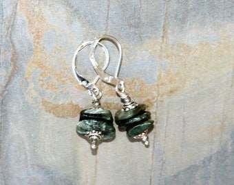 Seraphinite Earrings, Green Earrings, Natural Stone Earrings, Gemstone Earrings, Bohemian Earrings, Stacked Earrings, Raw Stone Earrings