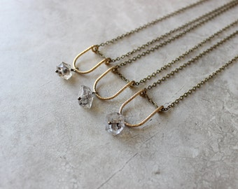 Herkimer Dipper Necklace, Brass Crescent Necklace