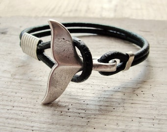 Whale Tail Bracelet - Black Nautical Bracelet Beach Jewelry Leather and Metal