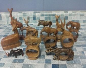 Vintage lot of 12 hand carved safari african wildlife napkin holders