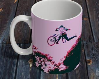 coffee mug, mountain bike art, bicycle art, coffee lover, ceramic mug, bicycle gift, coffee cup, coffee gift, bike art, mountain biking