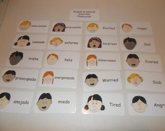 20 Emotions Flash Cards in English and Spanish.  Preschool thru Third Grade educational learning activity.