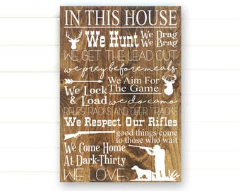 In this house we hunt sign hunting decor hunting gifts hunting sign rustic hunting decor rustic home decor hunting decor hunting gift teraionfo