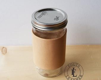 Venti Handmade Leather Mason Jar Sleeve with Pint and a Half Mason Jar