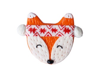 Brooch-fox with folk bandage-boho-folk-ethno-polymer clay