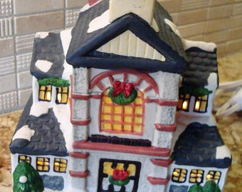 Vintage Ceramic Lighted Large Holiday Decorated House -  Wreaths - Snow - Candles in the Windows - Festive!!