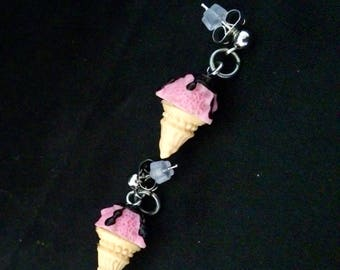 Delicious Ice Cream Cone Earrings On Silver Stud Push Backs